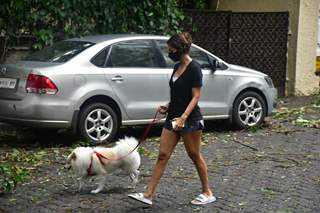 Malaika Arora snapped this morning taking her dog for a walk