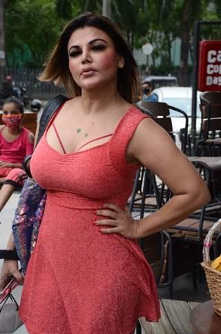Rakhi Sawant snapped outside at a coffee shop in Mumbai