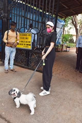 Khushi Kapoor snapped walking her dog this evening