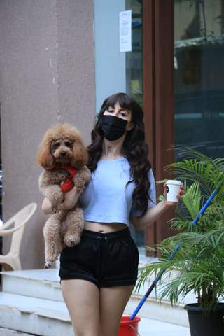 Giorgia Andriani snapped with her pet in Bandra
