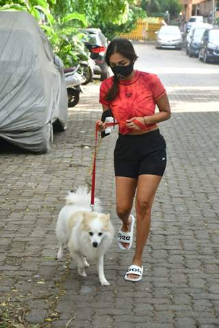 Malaika Arora snapped with her pet earlier this morning