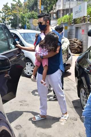 Angad Bedi snapped visiting Surya Hospital, Santacruz