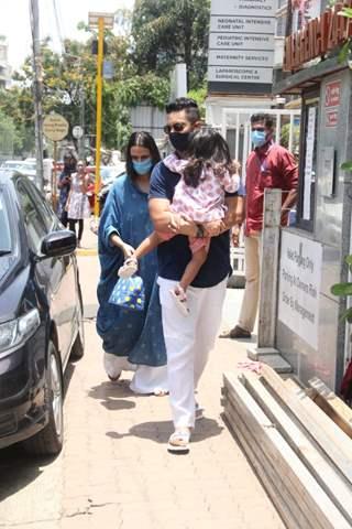 Neha Dhupia and Angad Bedi snapped visiting Surya Hospital, Santacruz