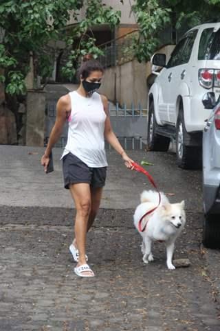 Malaika Arora snapped walking her pet in Bandra