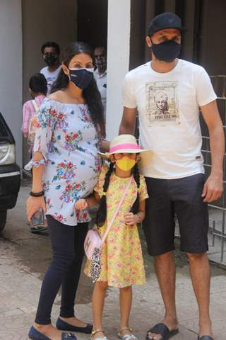 Harbhajan Singh with wife Geeta Basra and daughter spotted at a clinic in Bandra