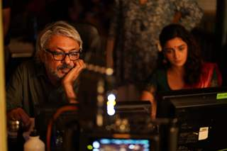 Sanjay Leela Bhansali inspecting a shot with Alia Bhatt on Gangubai Kathiawadi set