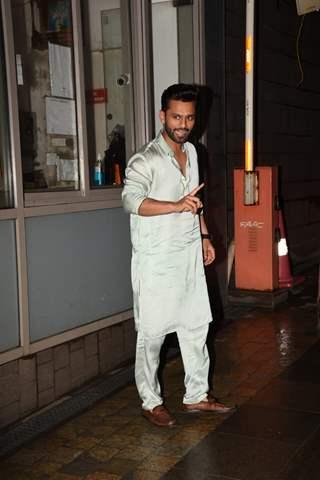 Rahul Vaidya snapped outside his residence