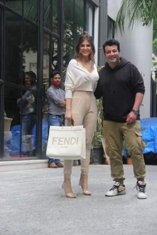Elnaaz Norouzi and Varun Sharma snapped at Maddock films office