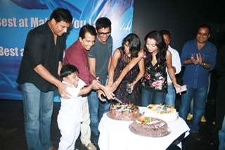 Gutur Gu team cutting cake at Fireworks Productions Party