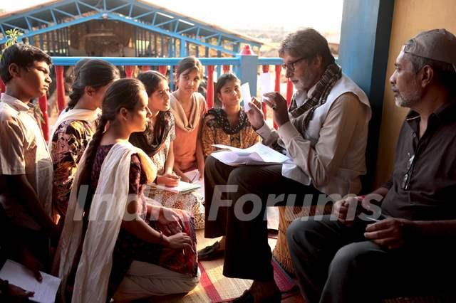 Still scene from the movie Aarakshan