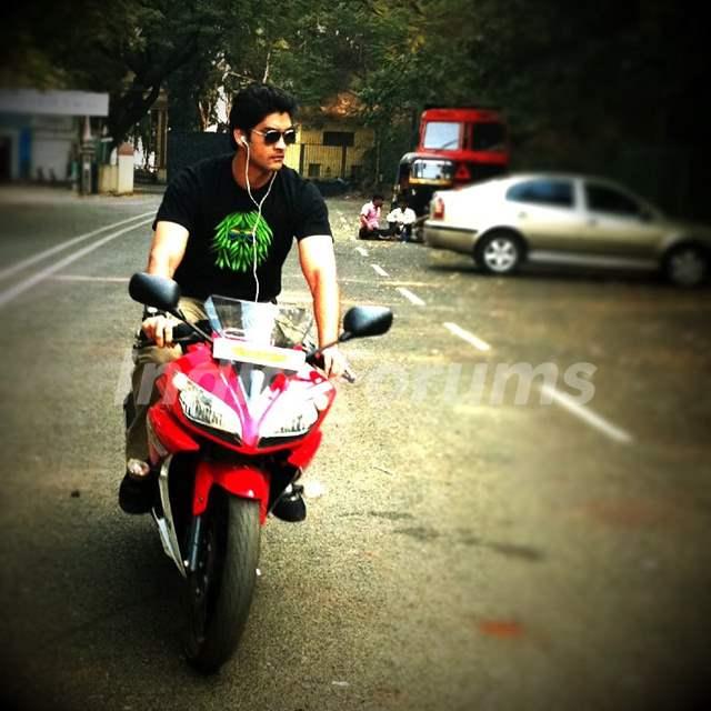 Aditya Redij on bike