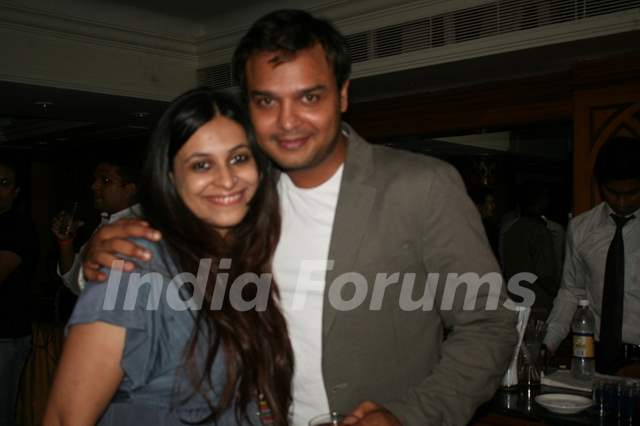 Siddharth Kumar Tewary with wife Gayatri at Amita Ka Amit hundred episodes party