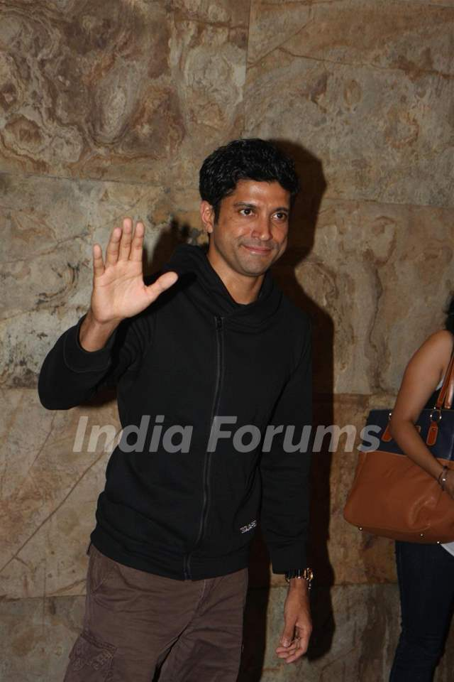 Farhan Akhtar address media at the Special Screening of film D-Day directed by Nikhil Advani