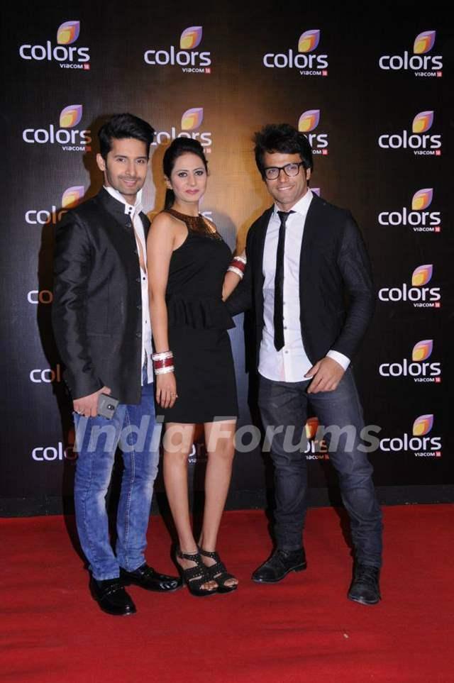 Rithvik Dhanjani, Ravi Dubey and Sargun Mehta at Colors party in March 2014