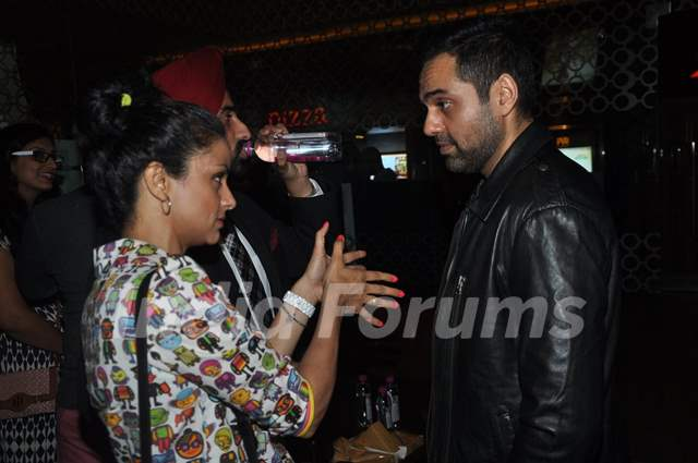 Gul Panag was snapped talking with Abhay Deol at the Premier of 'Step Up All In'