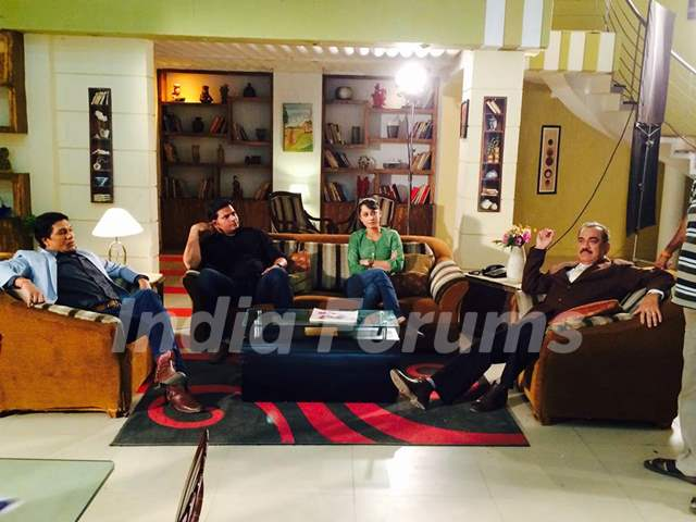 Aditya Srivastava, Dayanand shetty, Ansha Sayed and Shivaji Satam during the shoot of CID+ Adaalat