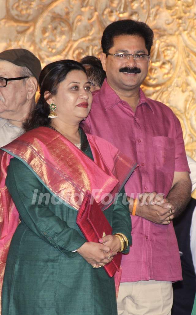 Suchitra Bandekar and Adesh Bandekar pose for the media at Manali Jagtap's Wedding Reception