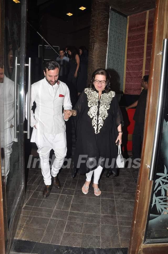 Saif Ali Khan with Babita Kapoor at her Birthday