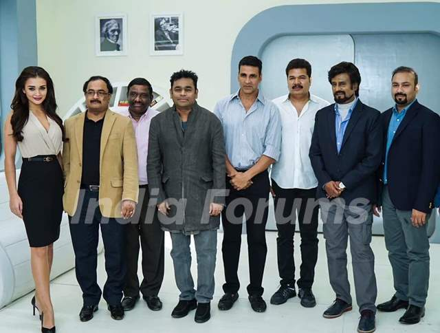 Akshay Kumar, Amy Jackson, A R Rahman and Superstar Rajinikantha at Pooja of Robot 2