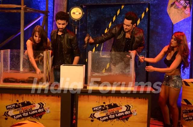 Bigg Boss 9 Contestants Performing Khatron Ke Khiladi Task