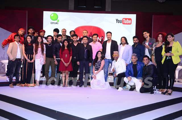 A.R. Rahman, Salim Merchant and Sulaiman Merchant at Qyuki musical collaboration with YouTube event