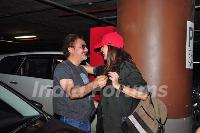 Neha Dhupia snapped hugging Vinay Pathak at Airport