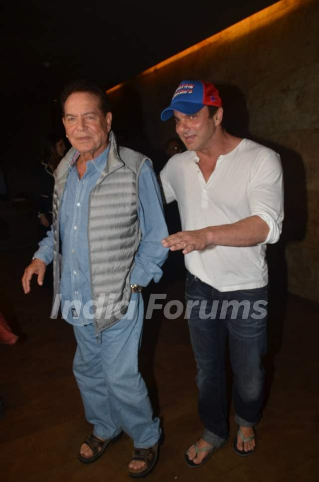 Sohail Khan and Salim Khan at Special Screening of 'Freaky Ali'
