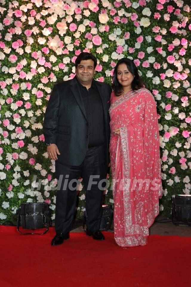 Kiku Sharda with wife at Kapil Sharma and Ginni Chatrath's Reception, Mumbai
