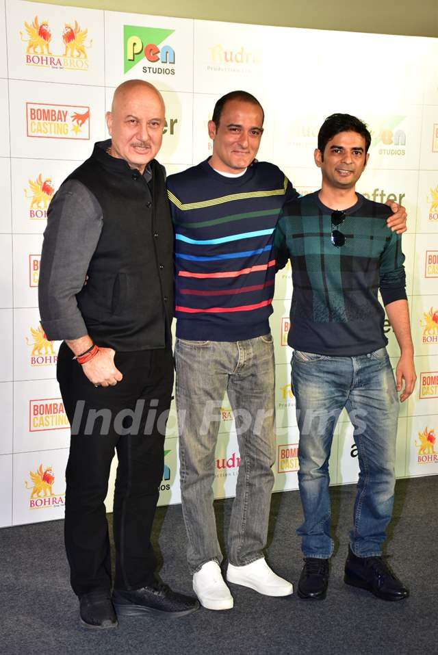 Anupam Kher and Akshaye Khanna with the director at The Accidental Prime Minister trailer launch