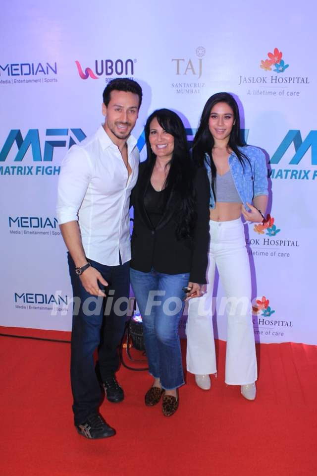 Tiger Shroff with mother Ayesha Shroff and sister Krishna Shroff at Matrix Fight night