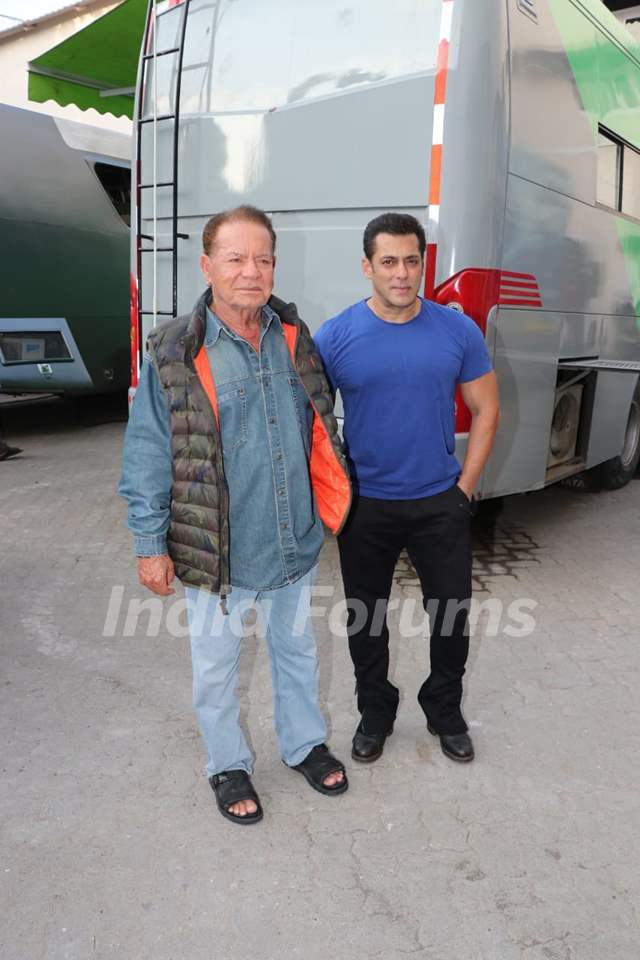 Salman Khan his father Salim Khan spotted at Mehboob studio for Bharat promotion