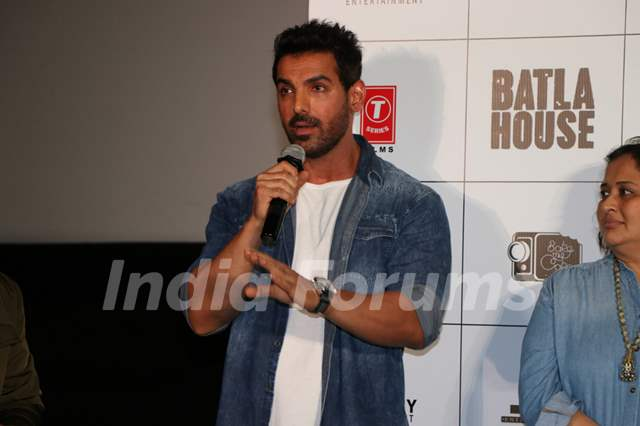 John Abraham was snapped at the trailer launch of Batla House