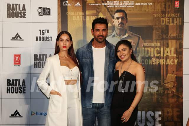 John Abraham and Nora Fatehi were snapped at the trailer launch of Batla House