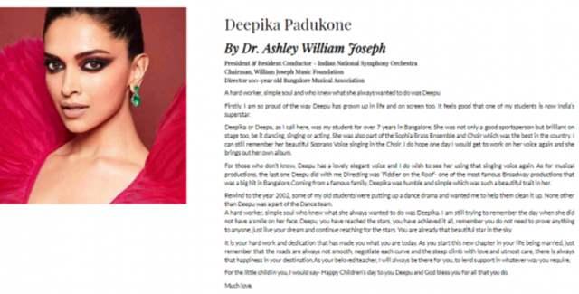 Deepika Padukone's Teacher's Post