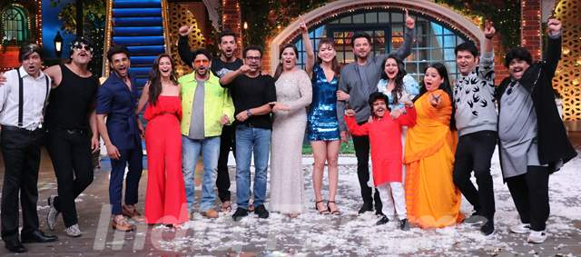 The cast of Pagalpanti on the sets of The Kapil Sharma Show
