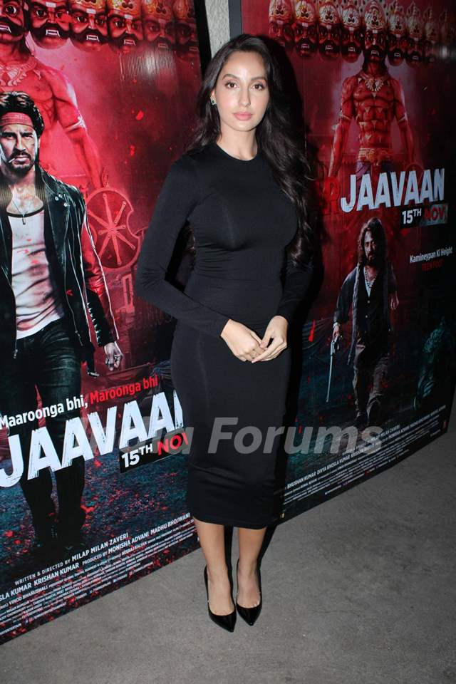 Nora Fatehi papped at Marjaavaan's special screening
