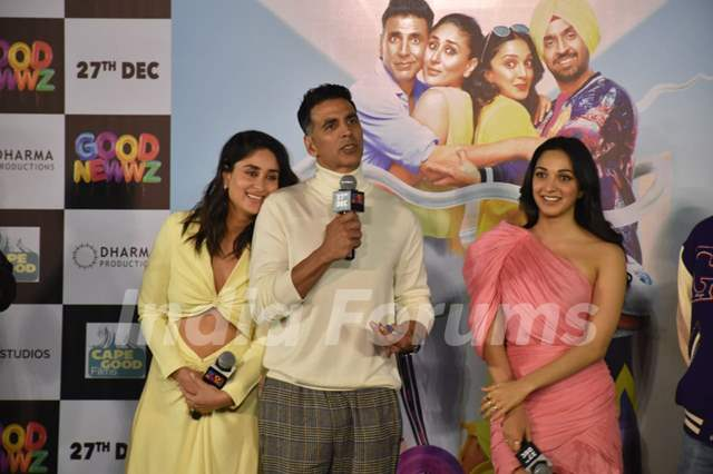 Akshay Kumar, Kareena Kapoor and Kiara Advani attends the trailer launch of Good Newwz