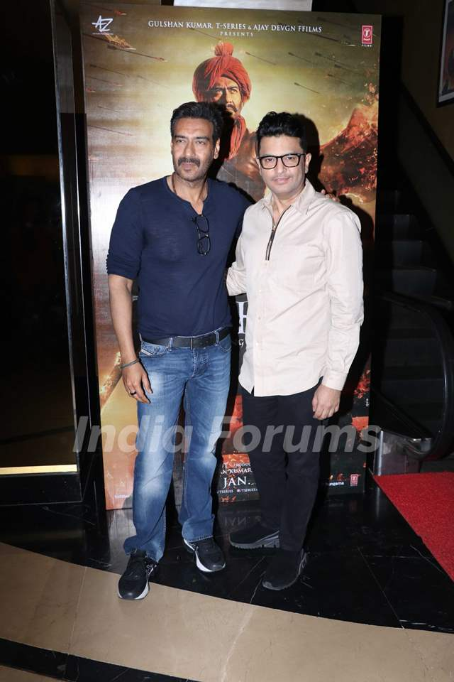Ajay Devgn and Bhushan Kumar papped at the special preview of Tanhaji: The Unsung Warrior
