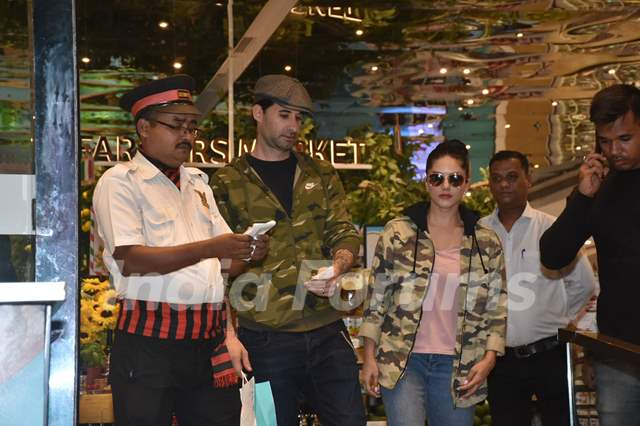 Sunny Leone papped with husband outside Food Hall