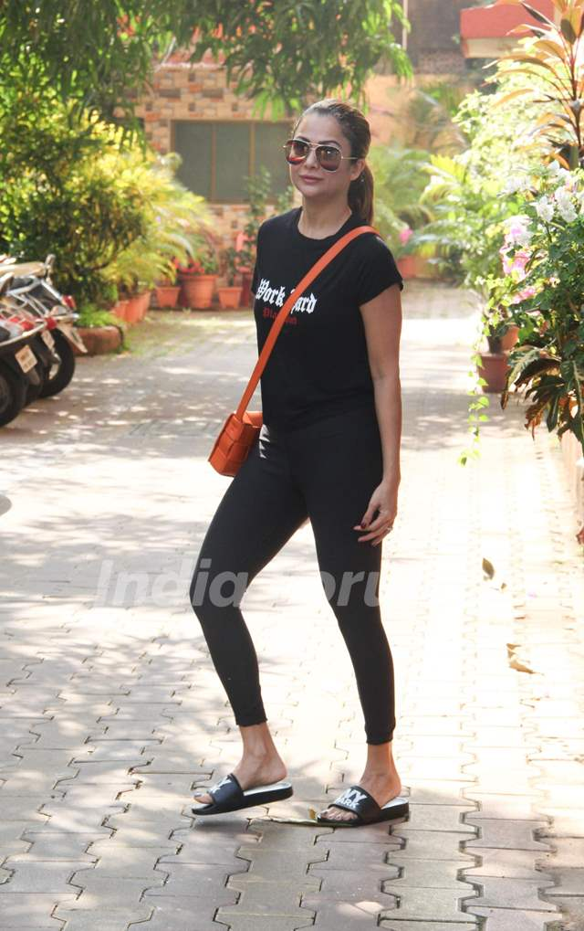 Amrita Arora snapped outside her gym