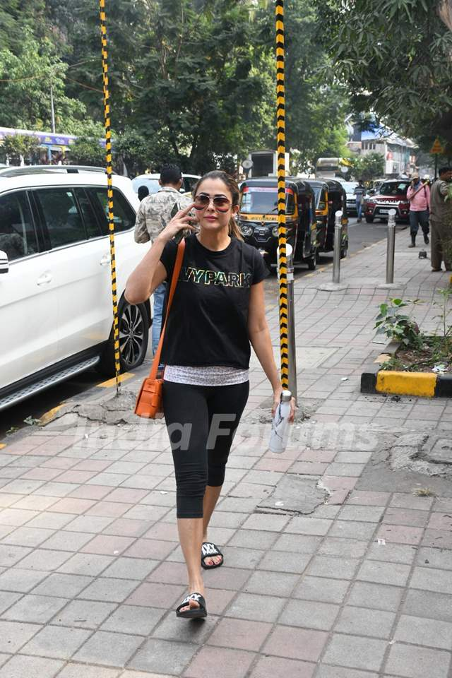 Amrita Arora papped outside her gym