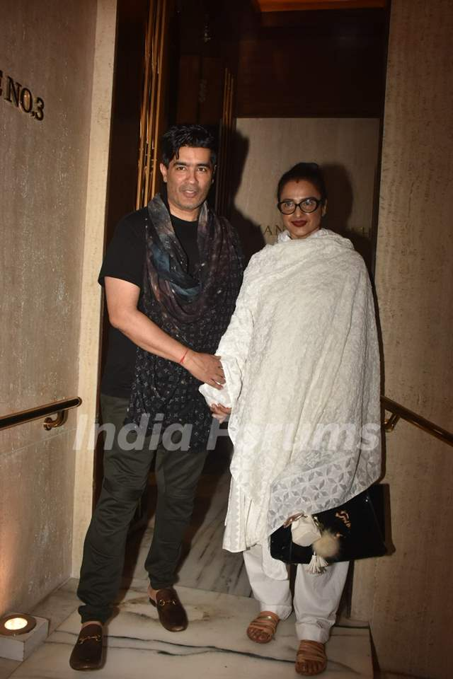 Rekha papped with Manish Malhotra at his house