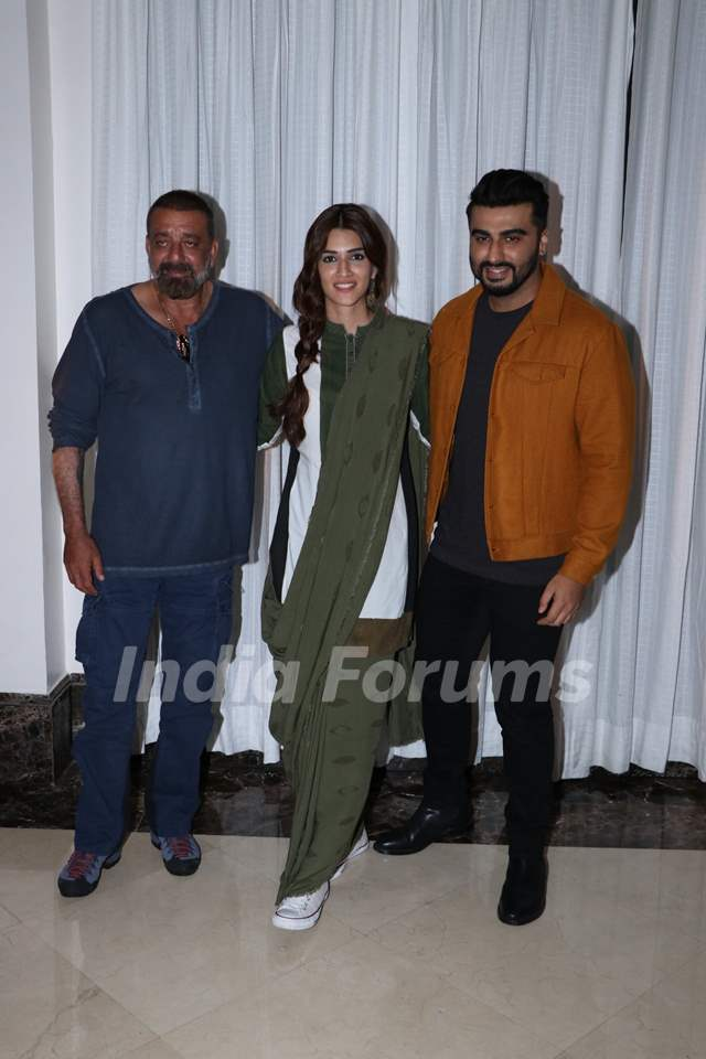 Arjun Kapoor, Kriti Sanon and Sanjay Dutt snapped during the promotions of Panipat