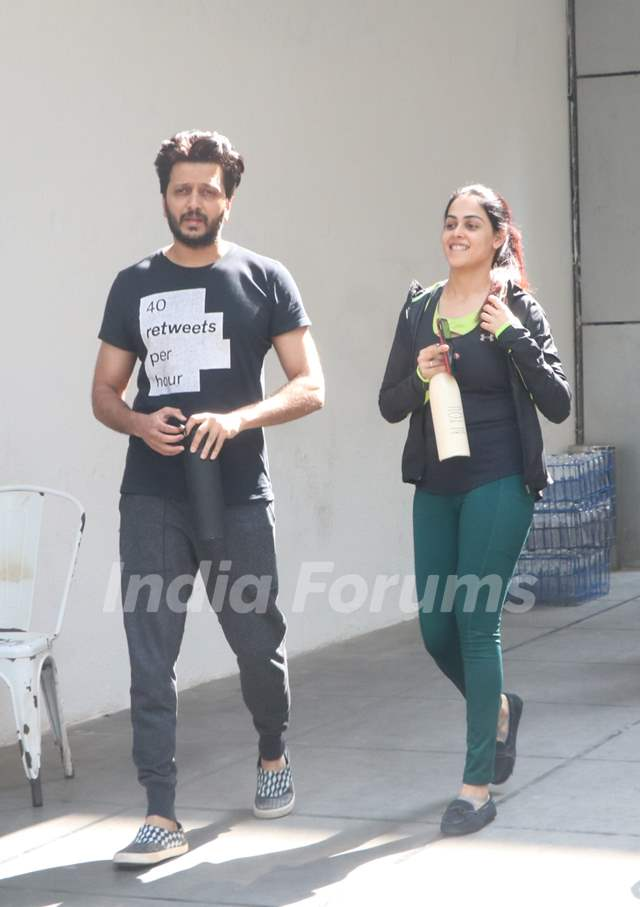 Riteish Deshmukh and Genelia Deshmukh snapped around the town