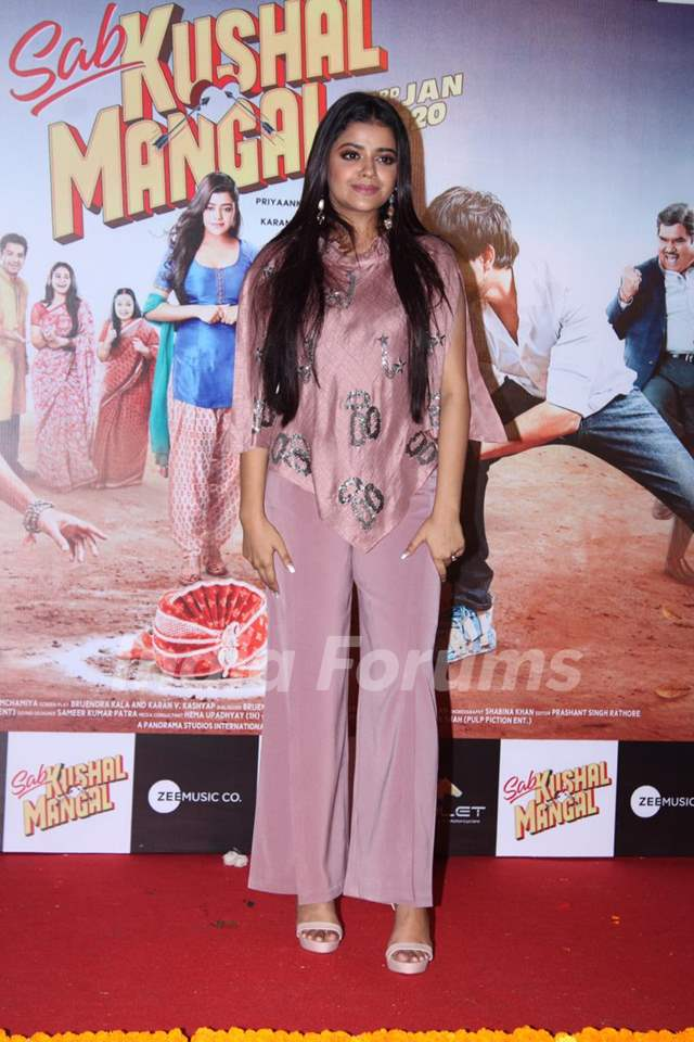 Riva Kishan papped at the trailer launch of Sab Kushal Mangal