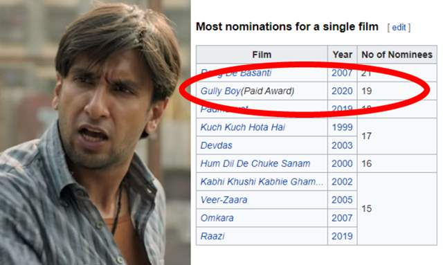 Gully Boy Tagged As Paid Award On Wikipedia Film Receives Brutal Criticism India Forums