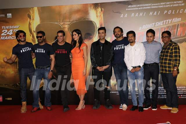 The cast of Sooryavanshi at the trailer launch!