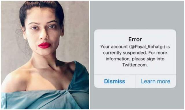Payal Rohatgi's Twitter Account Suspended