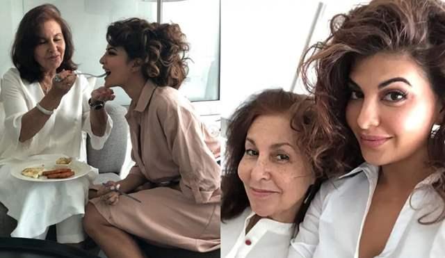 Jacqueline Fernandez with Mom