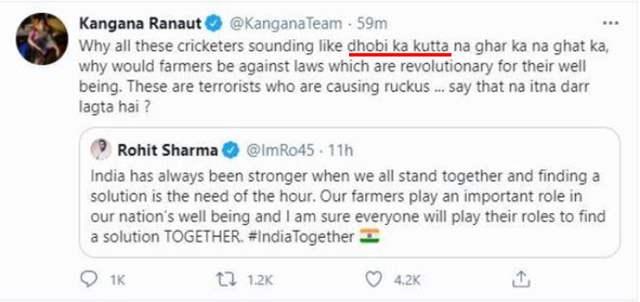 Kangana Ranaut replies to Rohit Sharma